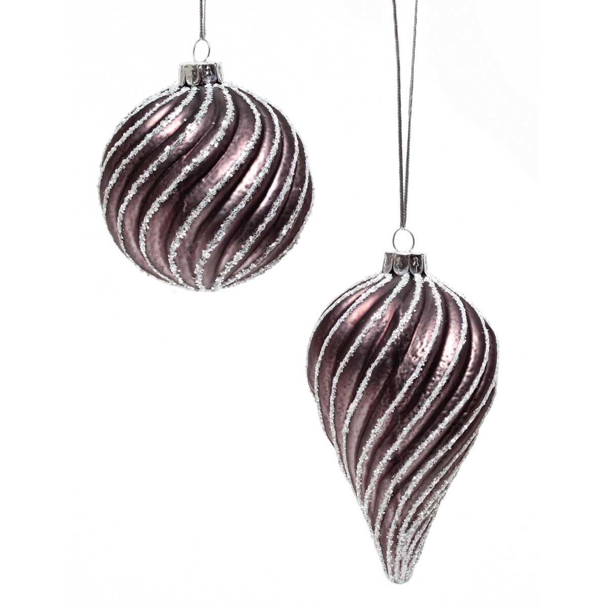 2 Piece Glass Teardrop/Ball Swirl Ornament Set