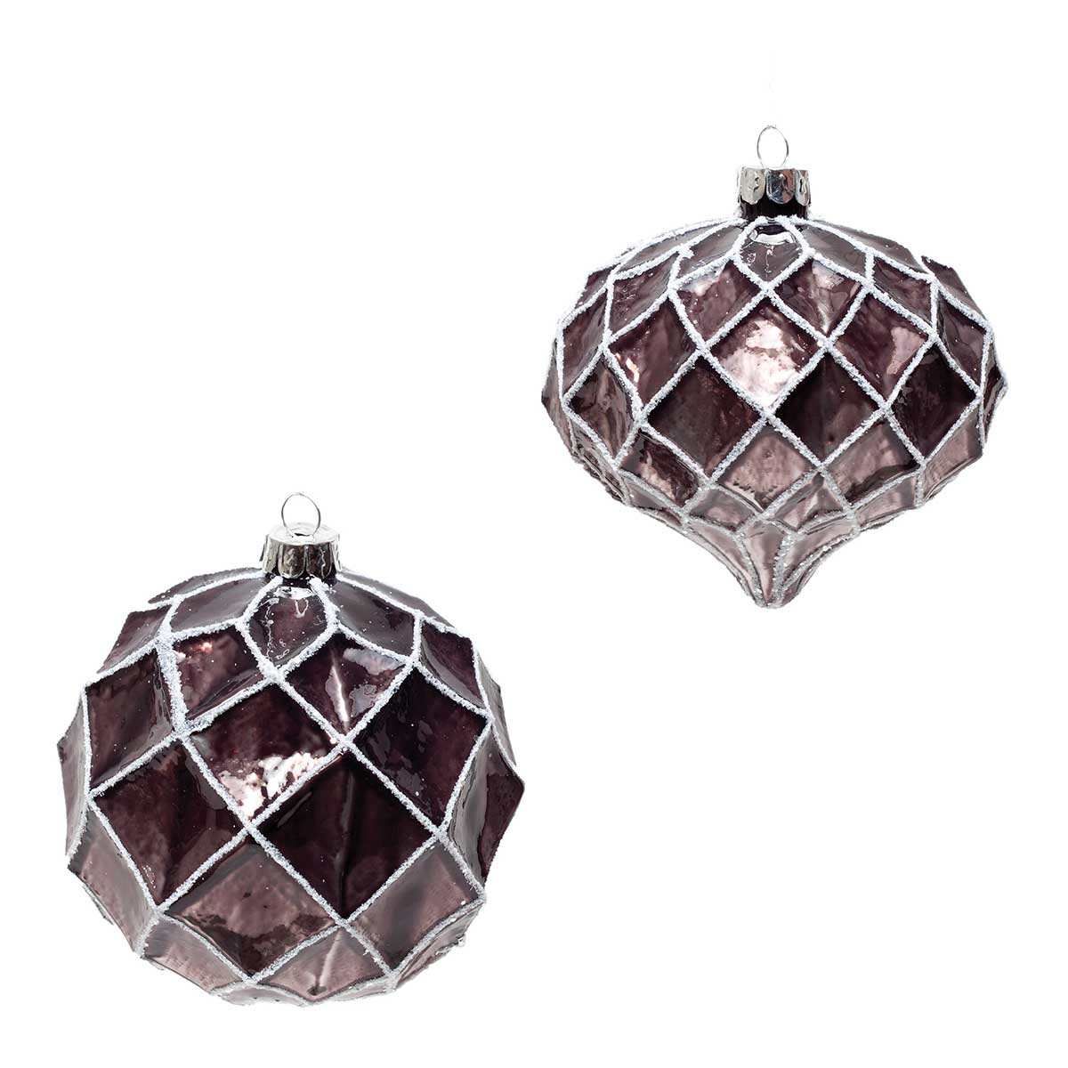 "TAUPE SHINY GLASS ORNAMENT 4"" BALL/KISMET"