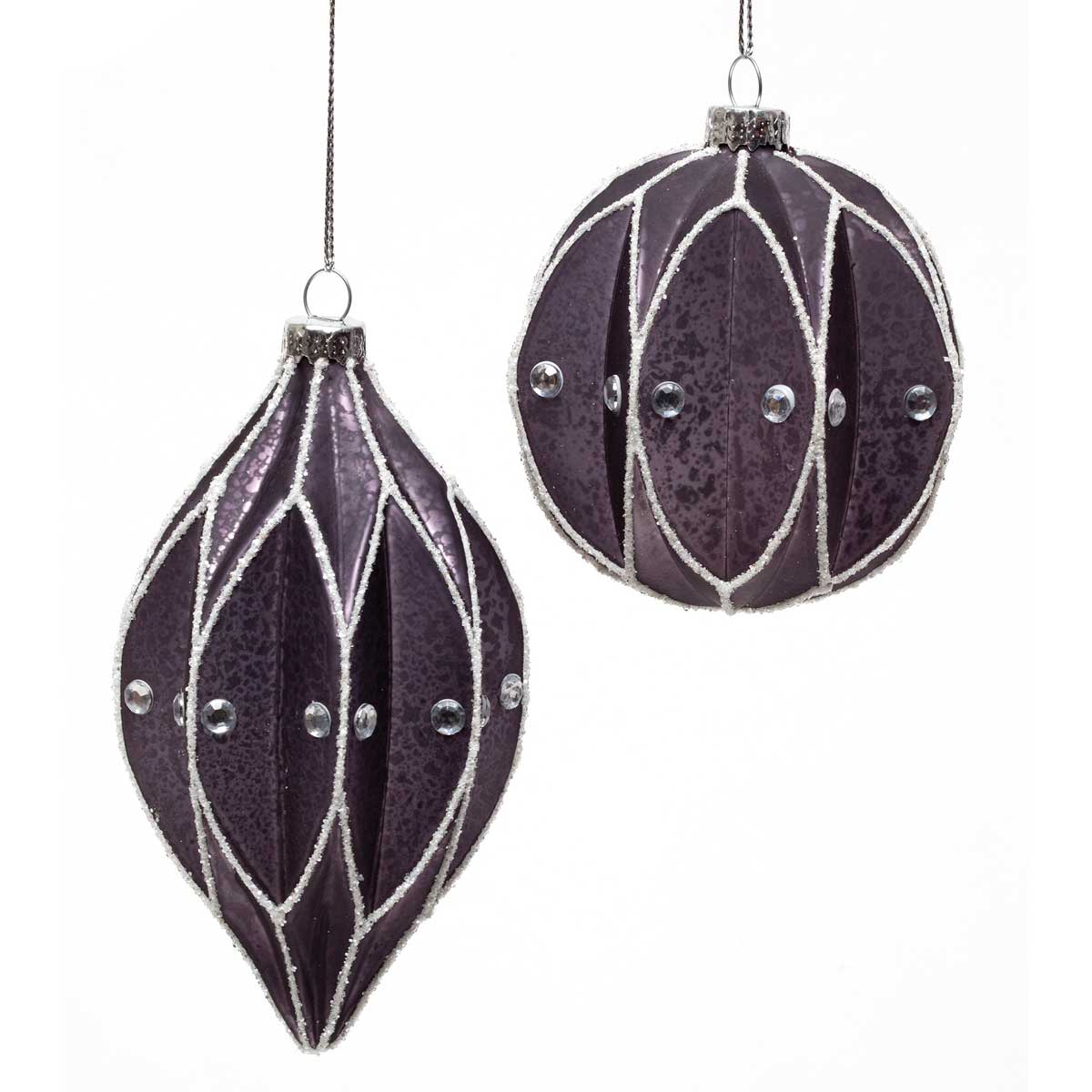 AMETHYST GLASS ORNAMENT WITH WHITE SWIRLS