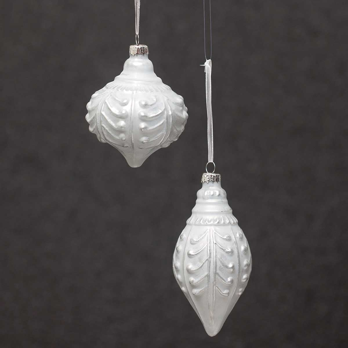SILVER WASH GLASS ORNAMENT