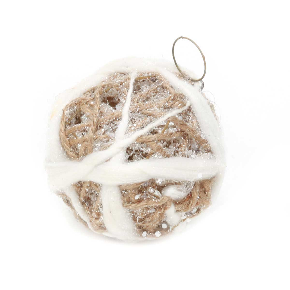 FARMHOUSE CHIC TWIG BALL ORNAMENT 4""