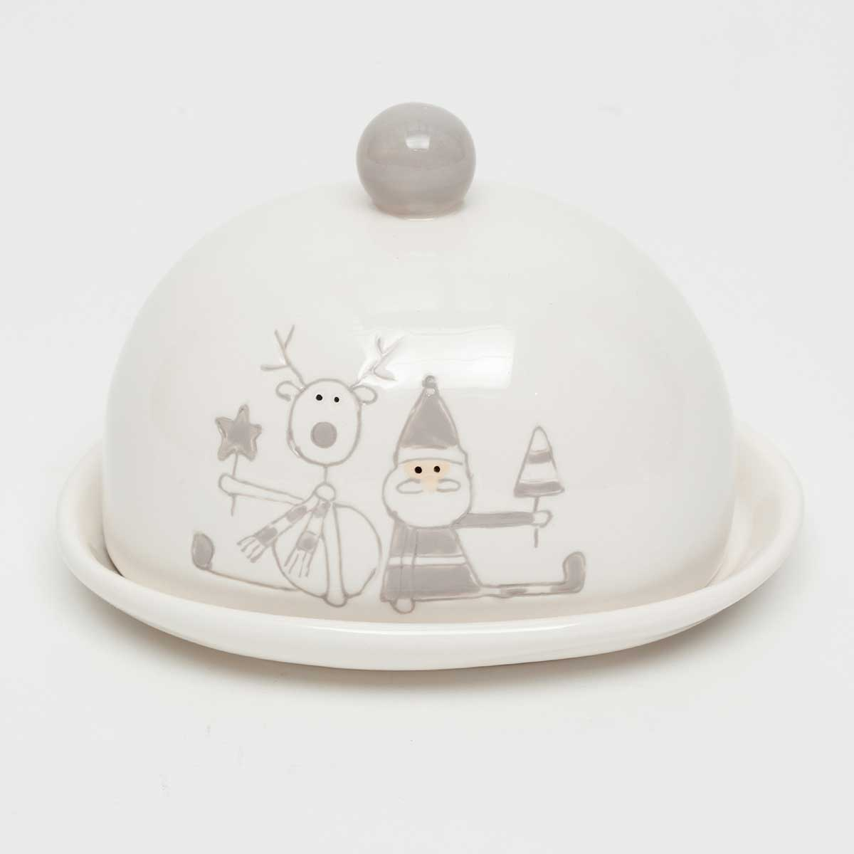 "SANTA AND DEER DUO COVERED DISH 6""X5""X4.5"""