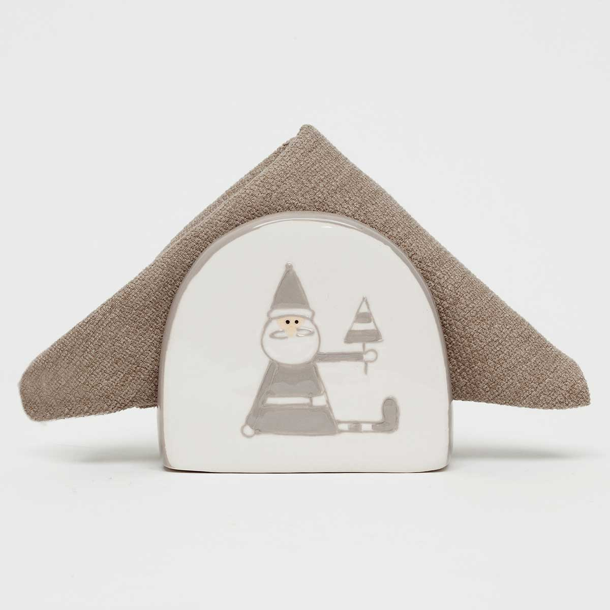 "SANTA AND DEER DUO NAPKIN HOLDER 3.5""X2""X3"""
