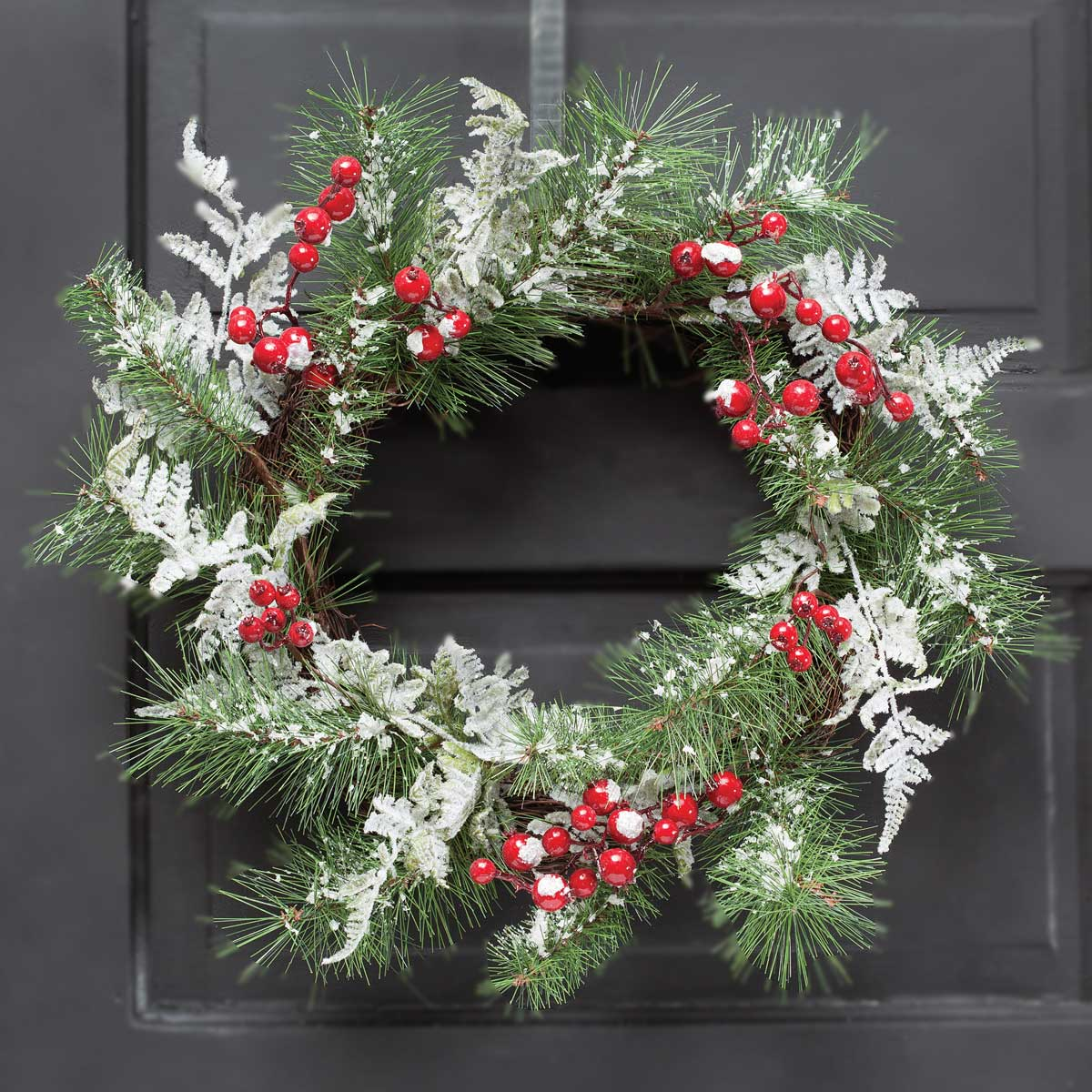 "ICED RED BERRY 22"" FERN WREATH"