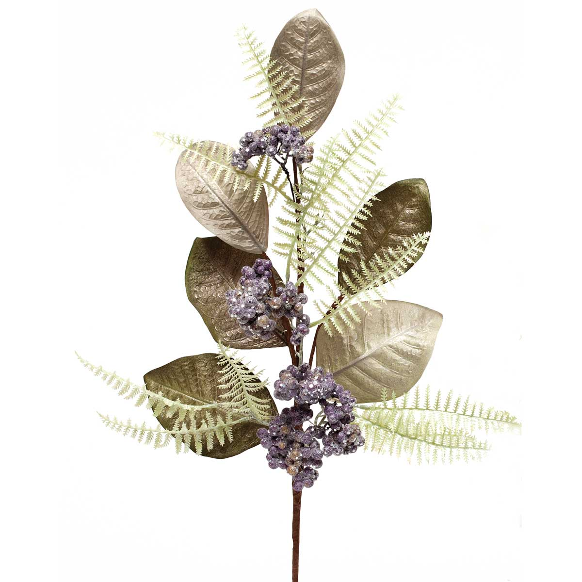 "AMETHYST FERN BERRY LEAF SPRAY 28"" b50"
