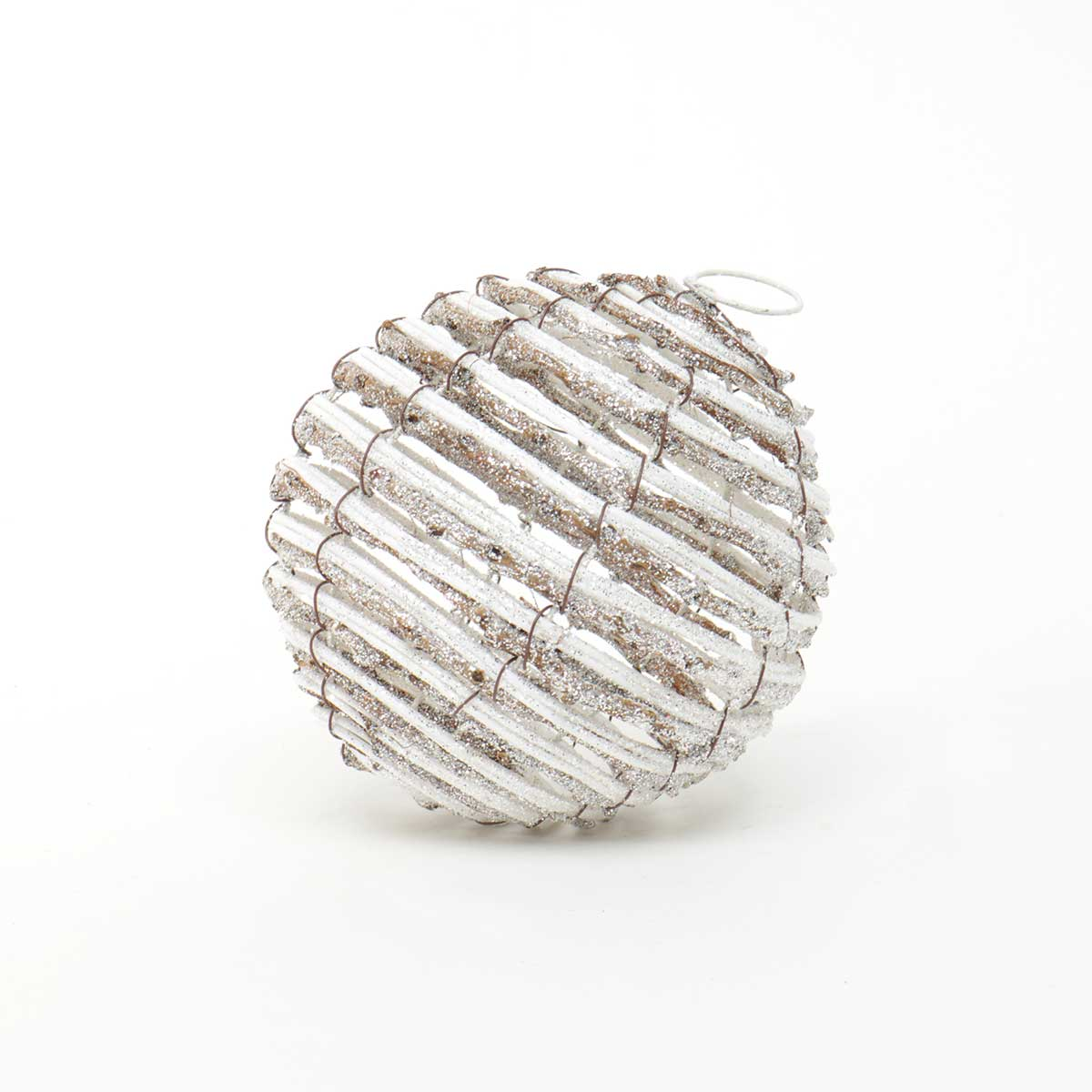 """TWIG BALL WITH SNOW 6"""""""