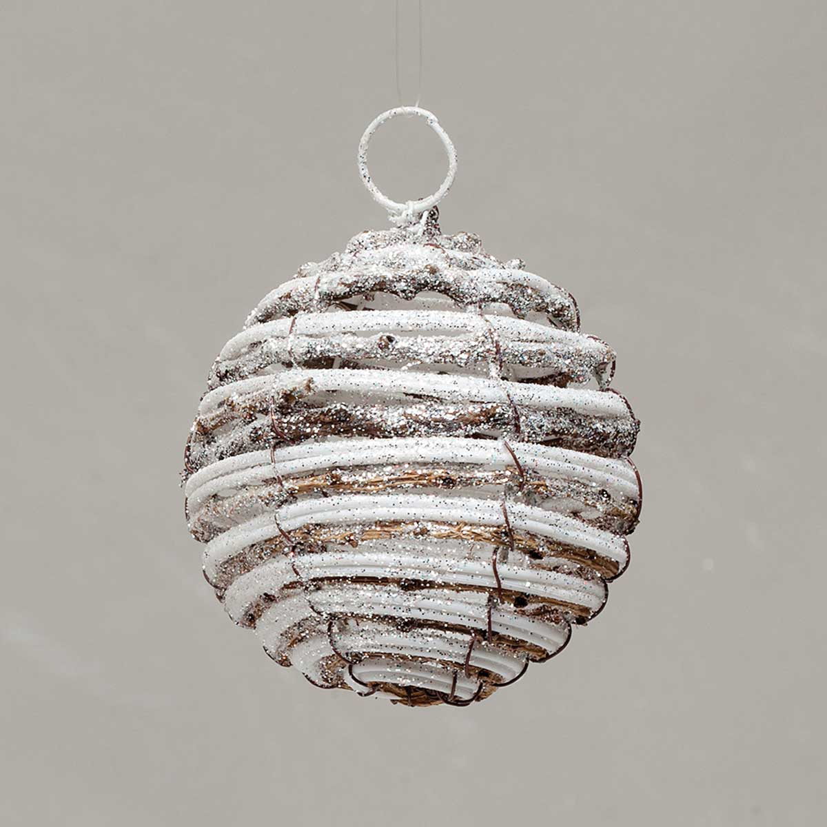 TWIG BALL WITH SNOW 3.5""