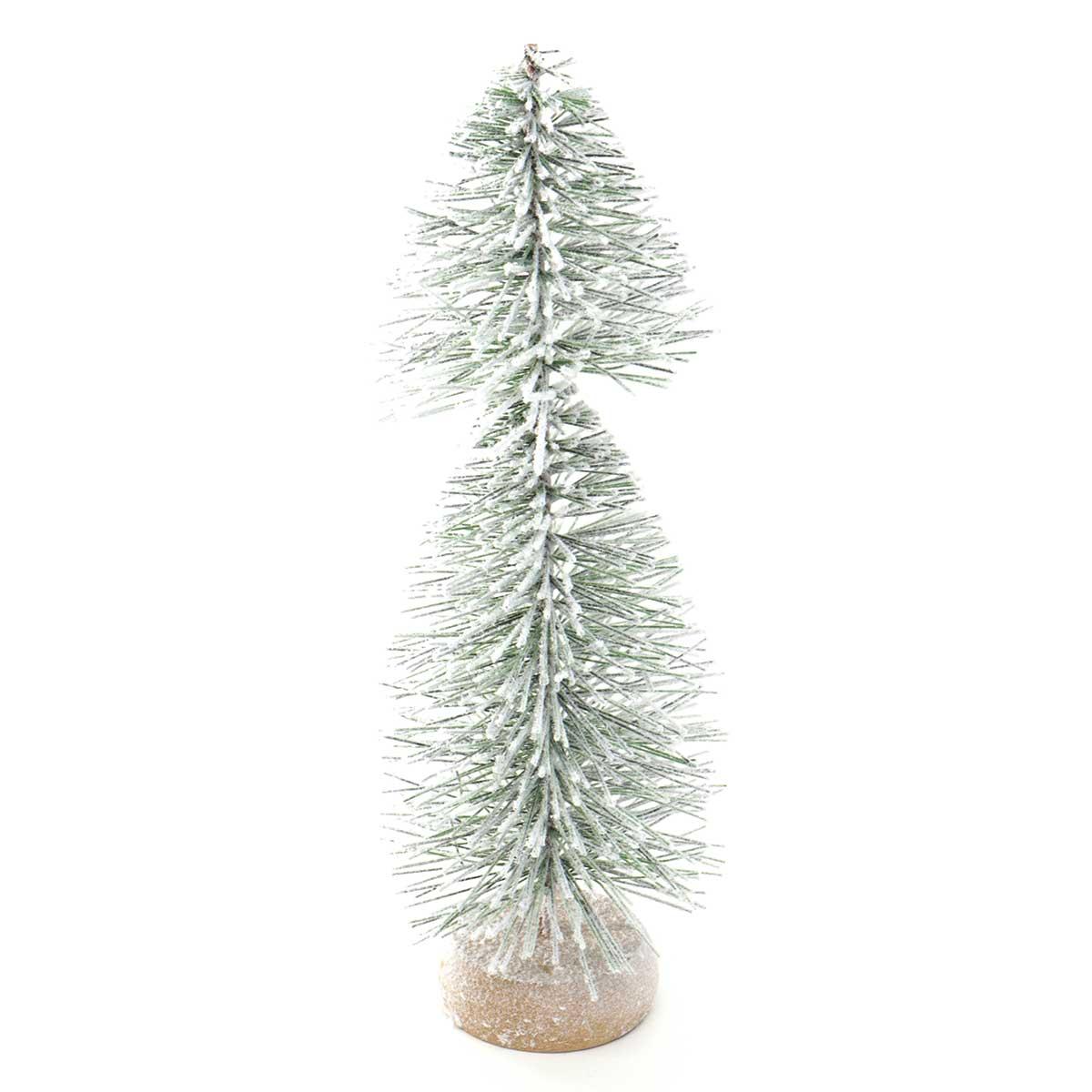 """MINI DOUBLE TREE WITH SNOW 3""""X10.5"""""""
