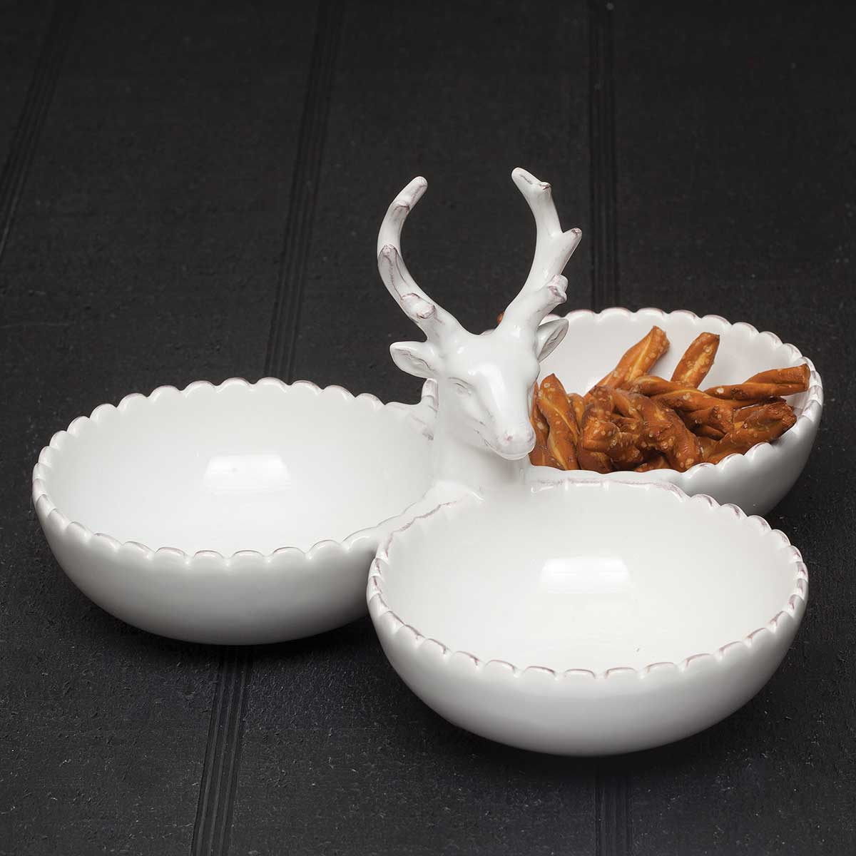 "DEER TRIPLE BOWL WHITE 9""X5"""