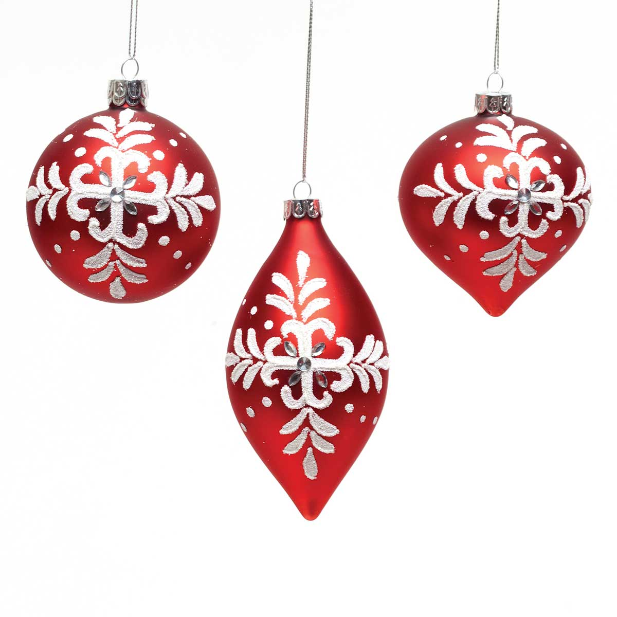 FLEUR DE FLORAL ORNAMENT 3 ASSORTED