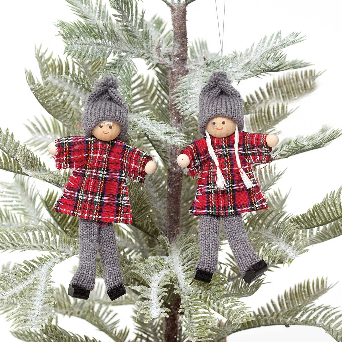 PLAID KID ORNAMENT 2 ASSORTED