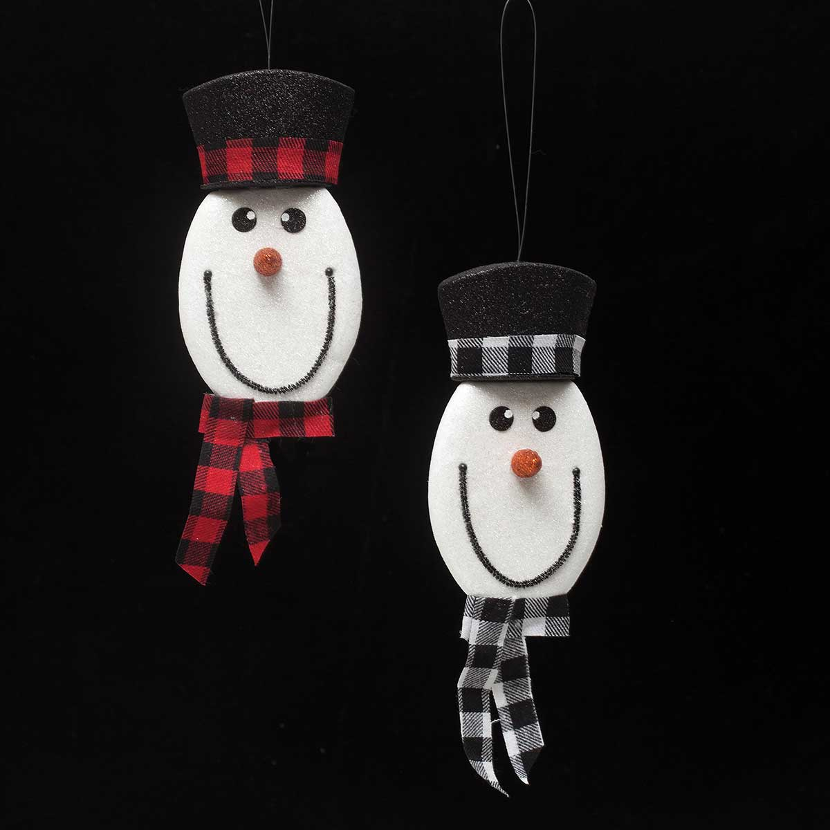 LET IT SNOW SNOWMAN PLAID ORNAMENT 12""