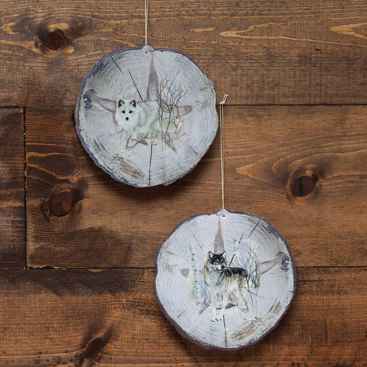 WOLF BARK ORNAMENT SET OF 2