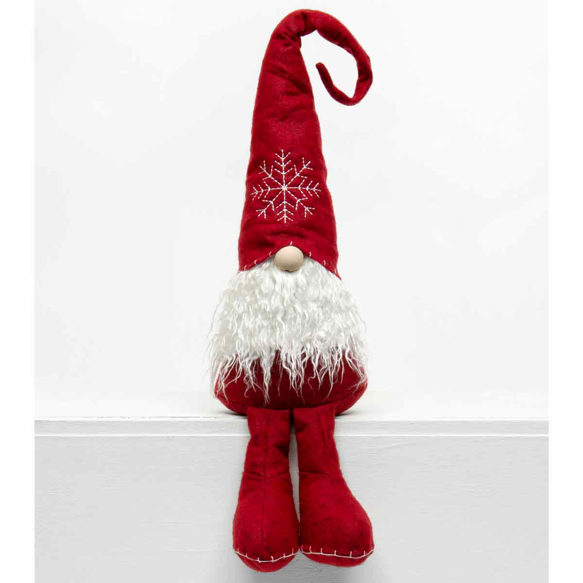 SCHNITZEL GNOME WITH SNOWFLAKE HAT, WOOD NOSE, CURLY BEARD AND B
