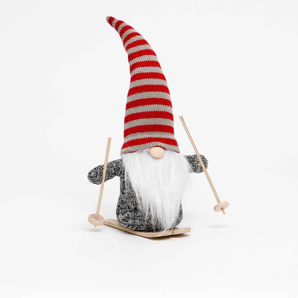 KRIS GNOME WITH RED/WHITE STRIPE HAT ON SKIS
