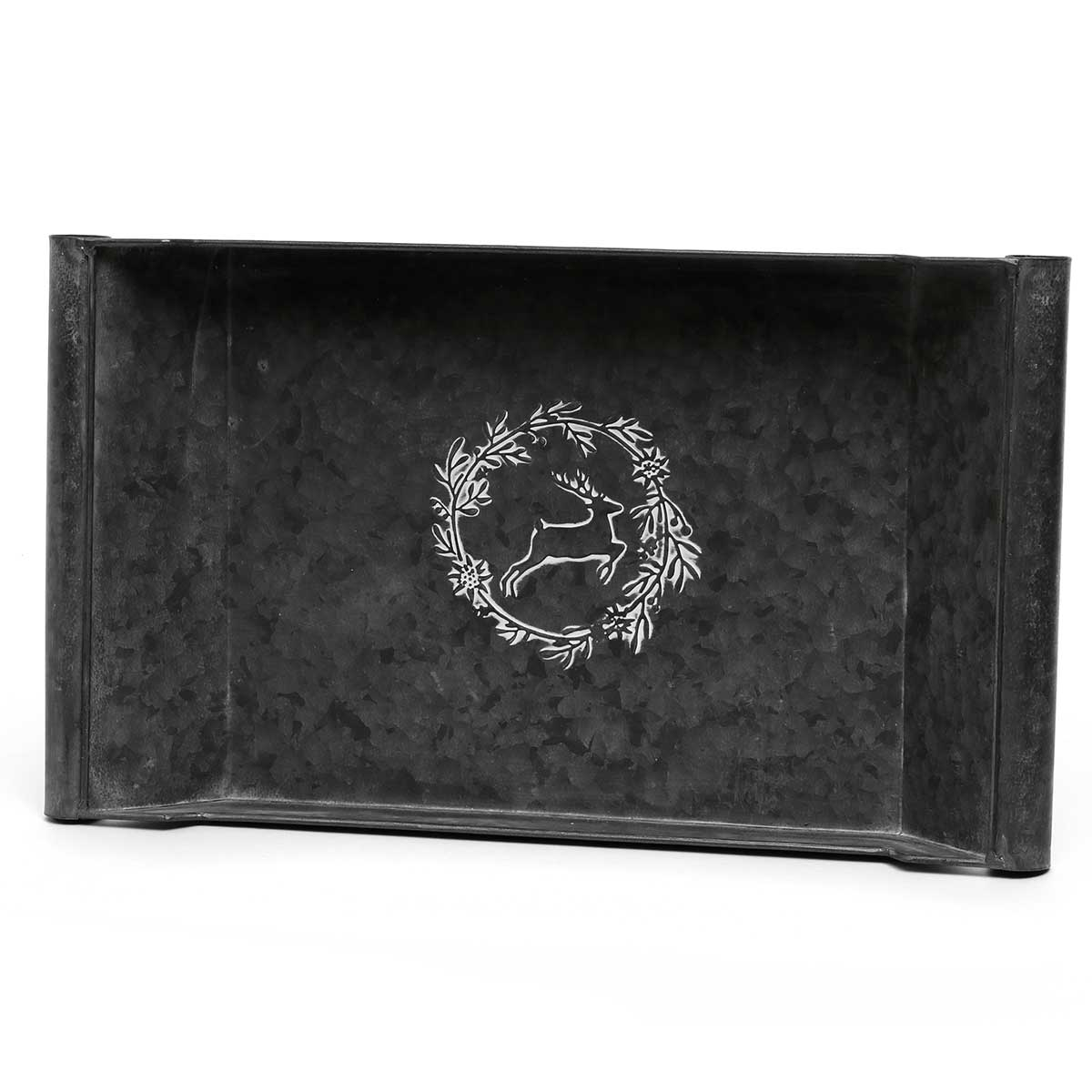 METAL TRAY WITH WHITE EMBOSSED