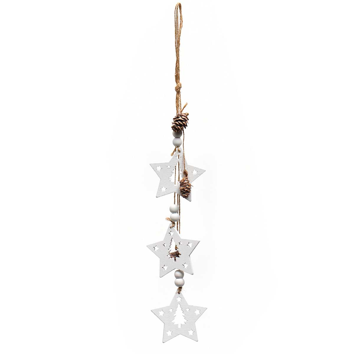 WHITE WOOD STAR X3 DROP ORNAMENT AMENT