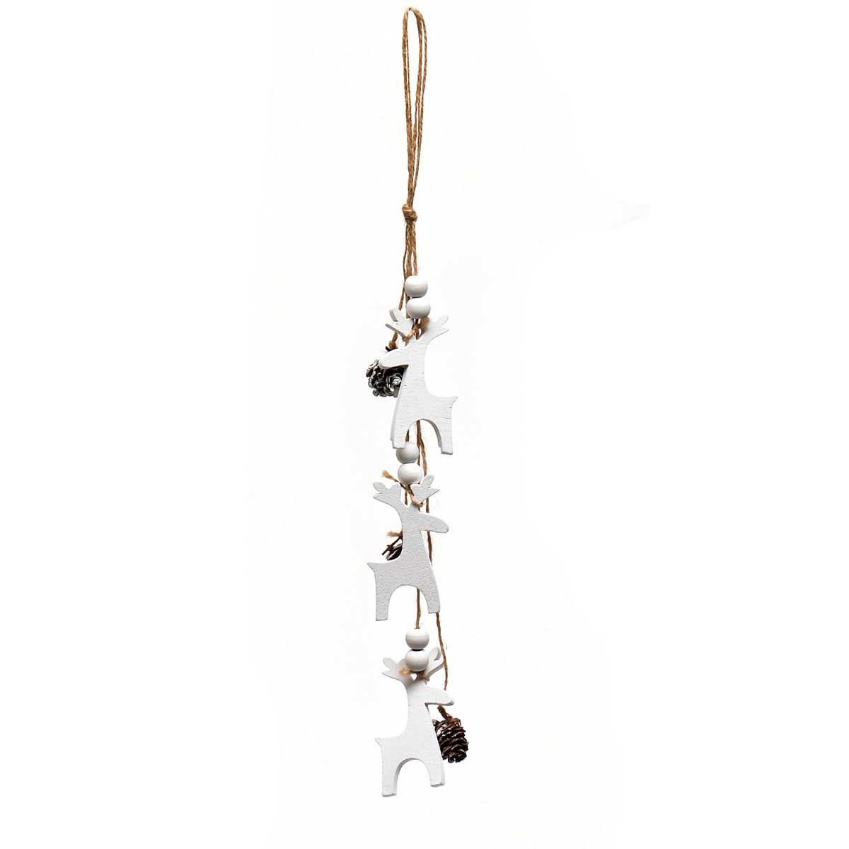 WHITE WOOD DEER X3 DROP ORNAMENT AMENT