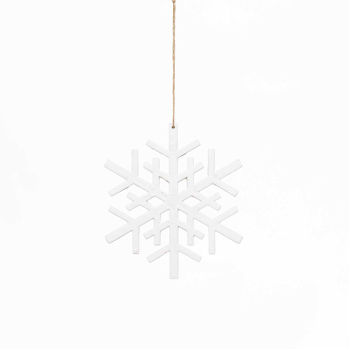 WHITE WOOD SNOWFLAKE ORNAMENT AMENT