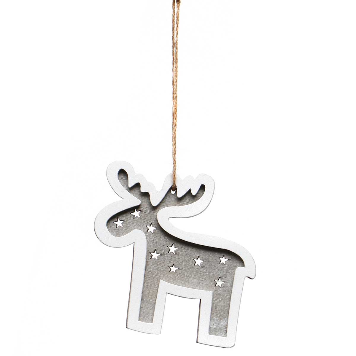GREY/WHITE WOOD MOOSE ORNAMENT AMENT