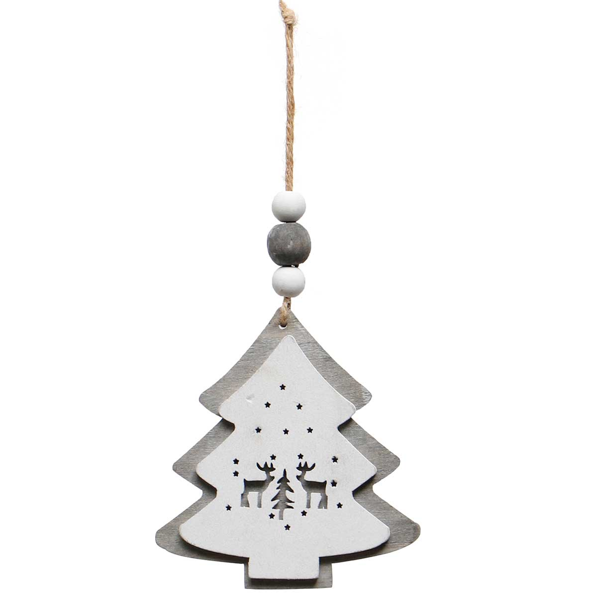 GREY/WHITE WOOD TREE ORNAMENT AMENT