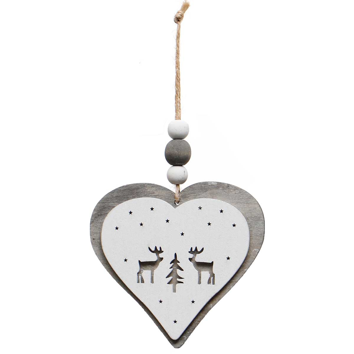 GREY/WHITE WOOD HEART ORNAMENT AMENT