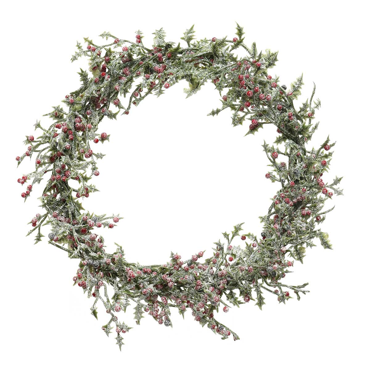 ICED HOLLY WREATH WITH RED
