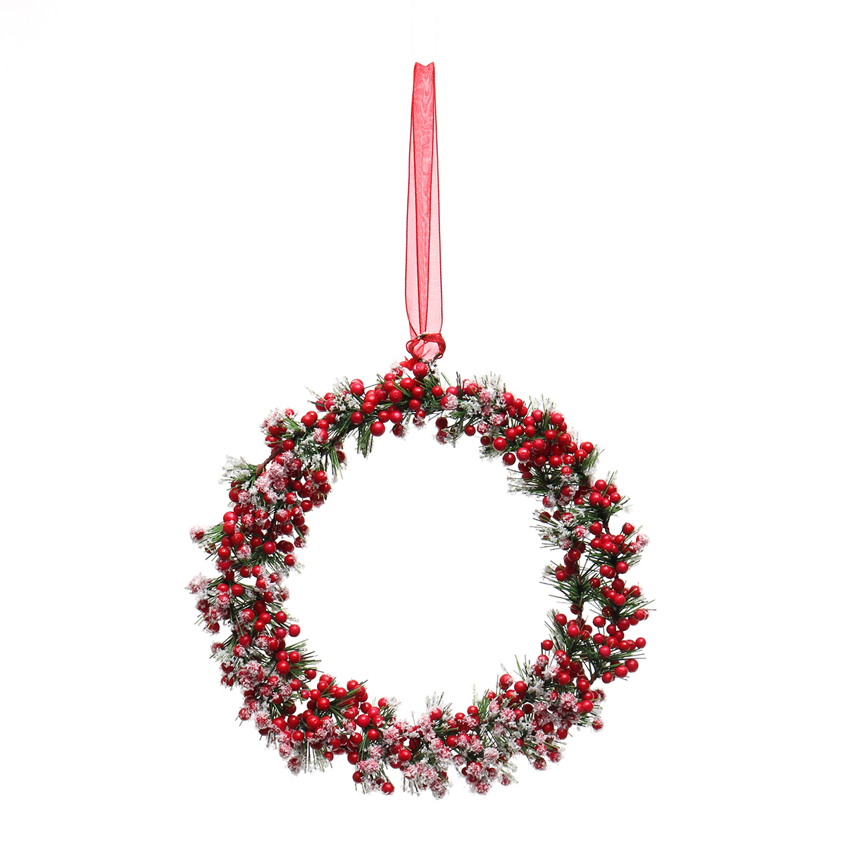SNOWED RED BERRY WREATH ORNAMENT