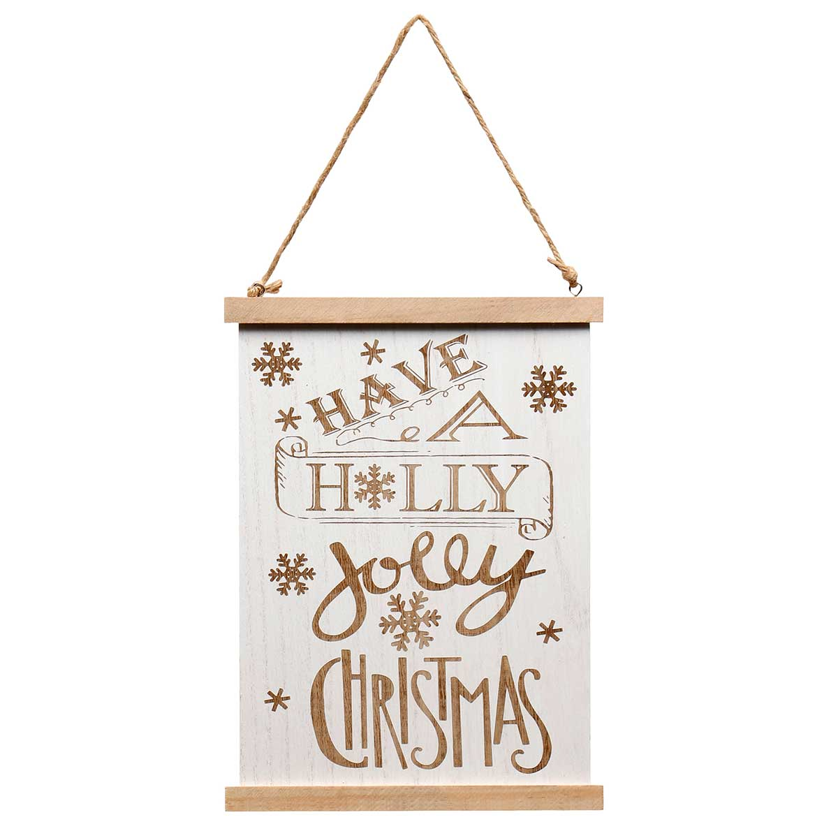 "HOLLY JOLLY"" NATURAL/WHITE WOOD SIGN WITH ROPE HANGER 9""X0.25"""