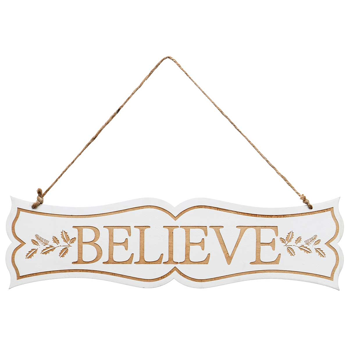 "BELIEVE"" NATURAL/WHITE WOOD ""Christmas and More Holiday 2020: *2"