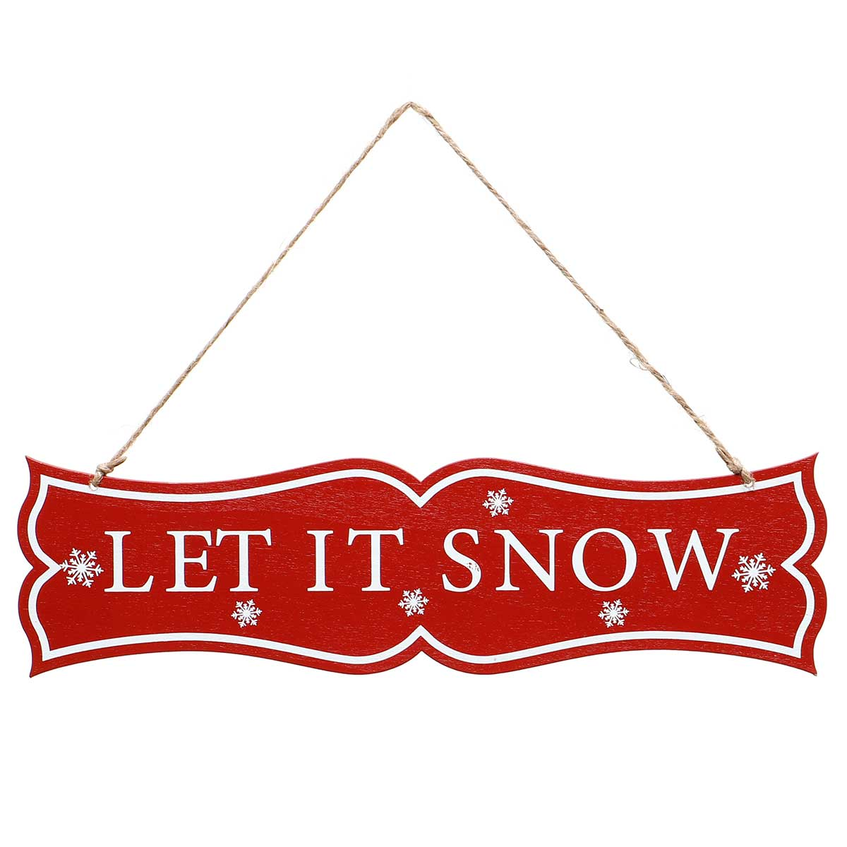 """LET IT SNOW"" RED/WHITE WOOD"