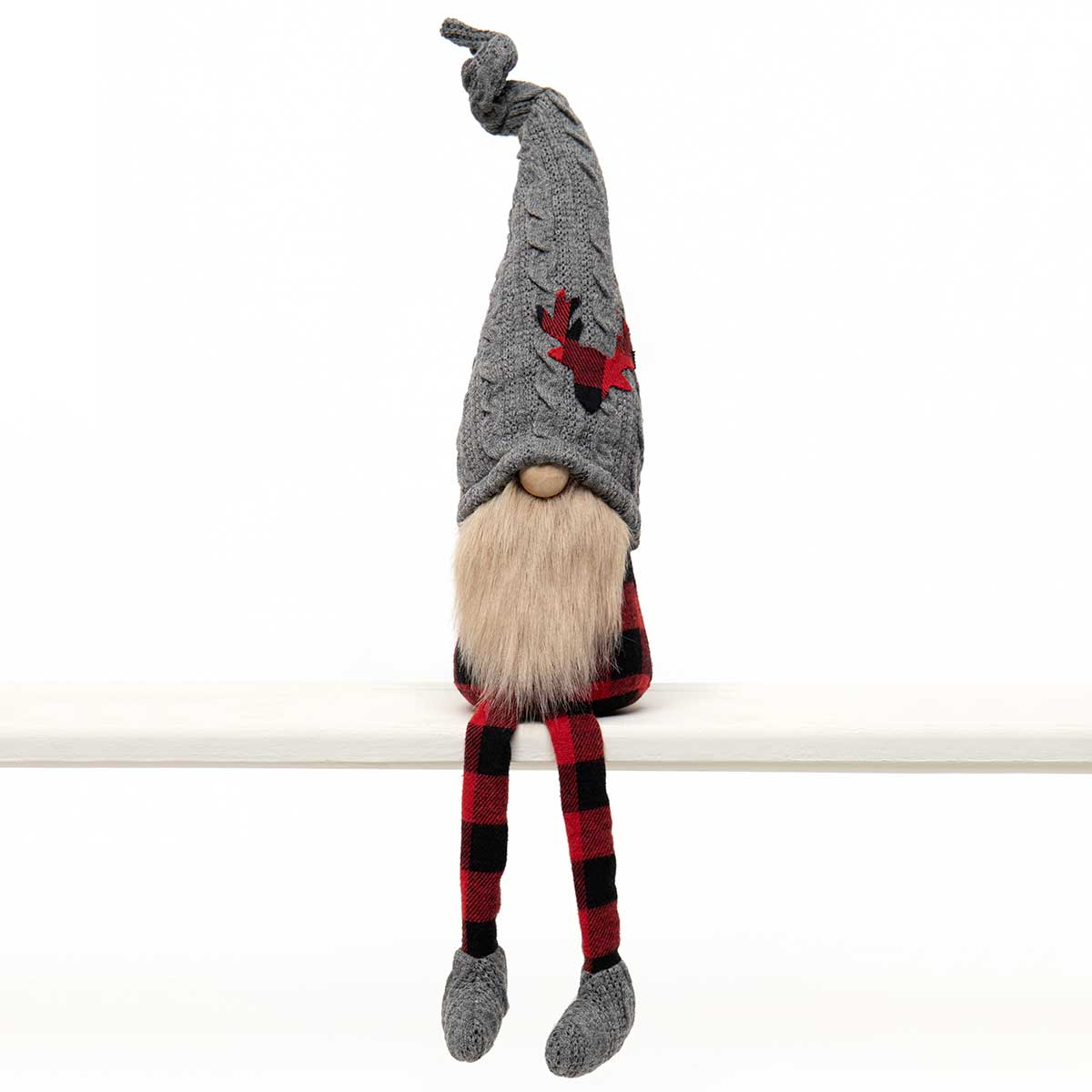 RED BUFFALO PLAID GNOME WITH DEER
