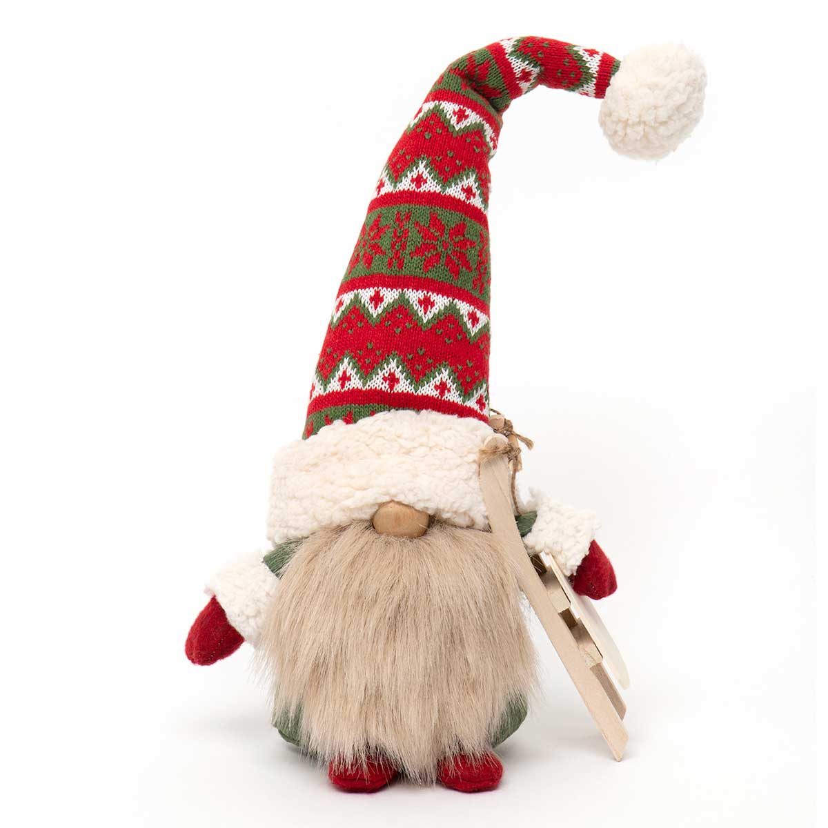 GNOME WITH SLED, WIRED RED/GREEN SWEATER