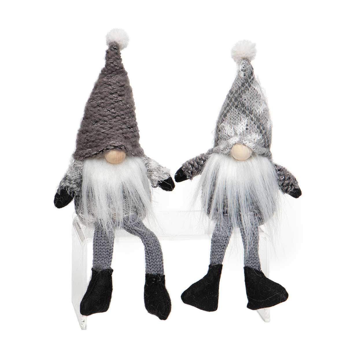 GREY GNOME WITH SNOWFLAKES, WOOD NOSE,