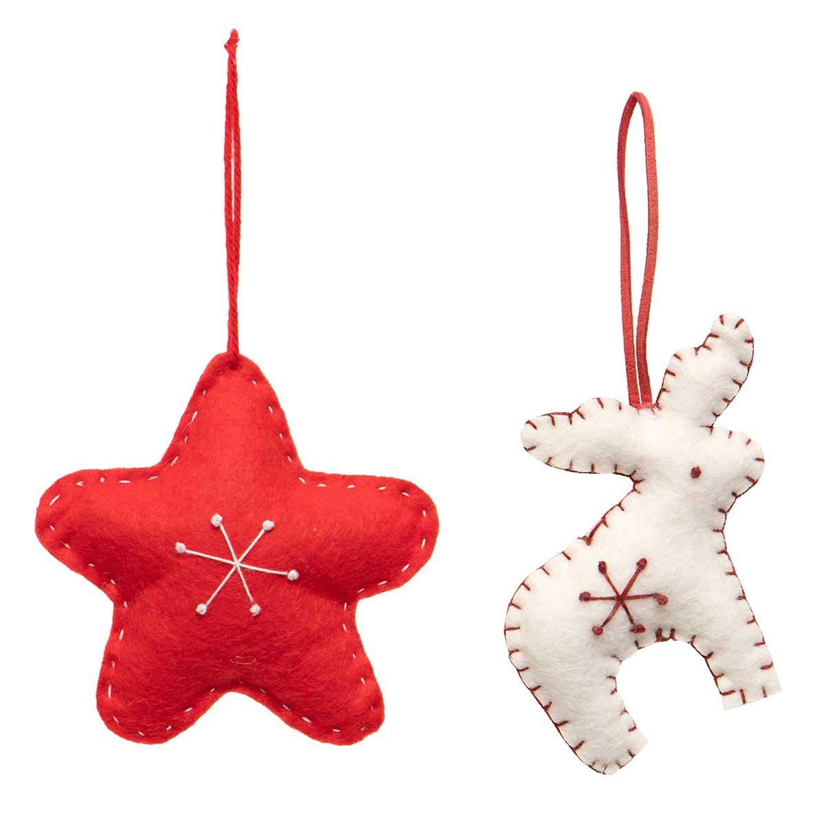 RED/WHITE DEER & STAR PLUSH ORNAMENT