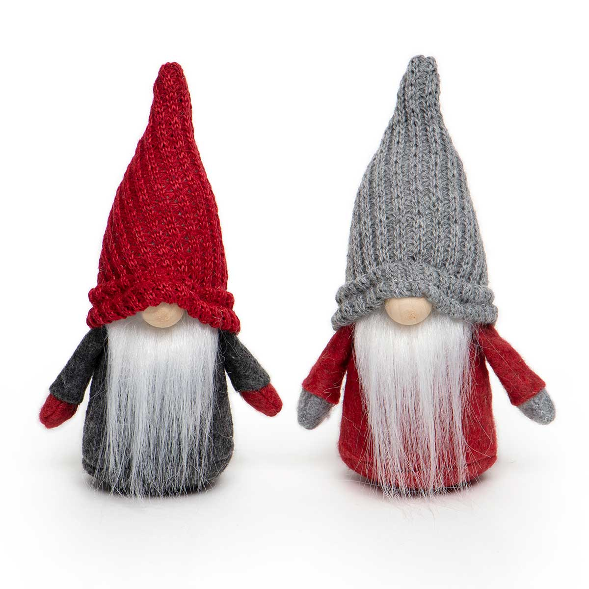 RED/GREY GNOME WITH KNIT HAT, WOOD