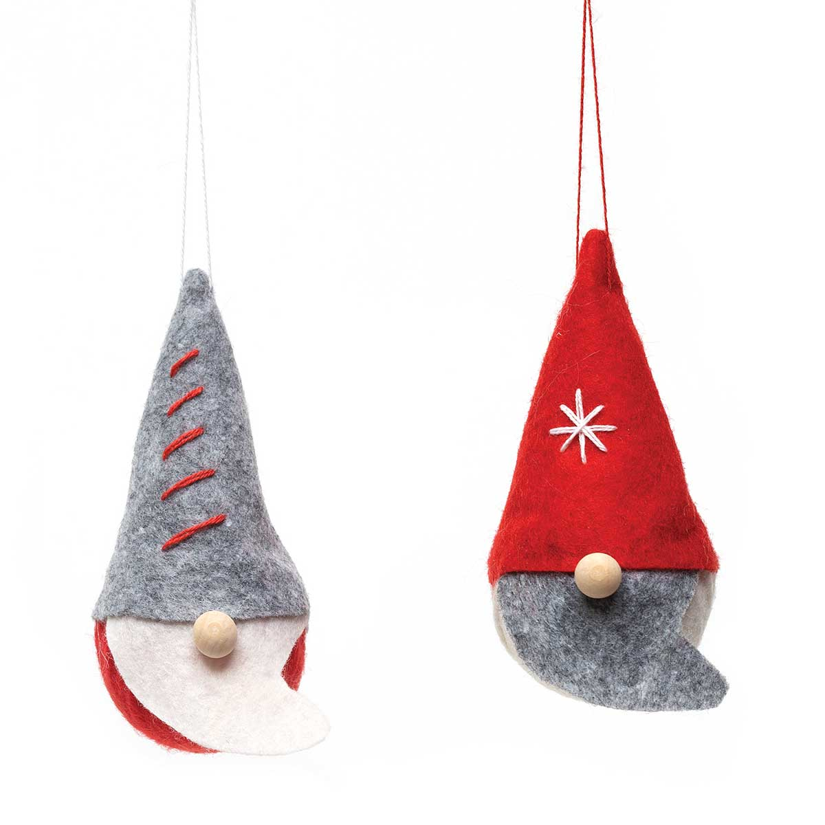 GNOME ORNAMENT WITH SNOWFLAKE STITCHING &