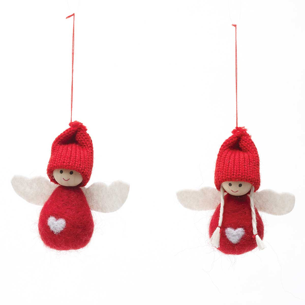 RED ANGEL ORNAMENT WITH HEART