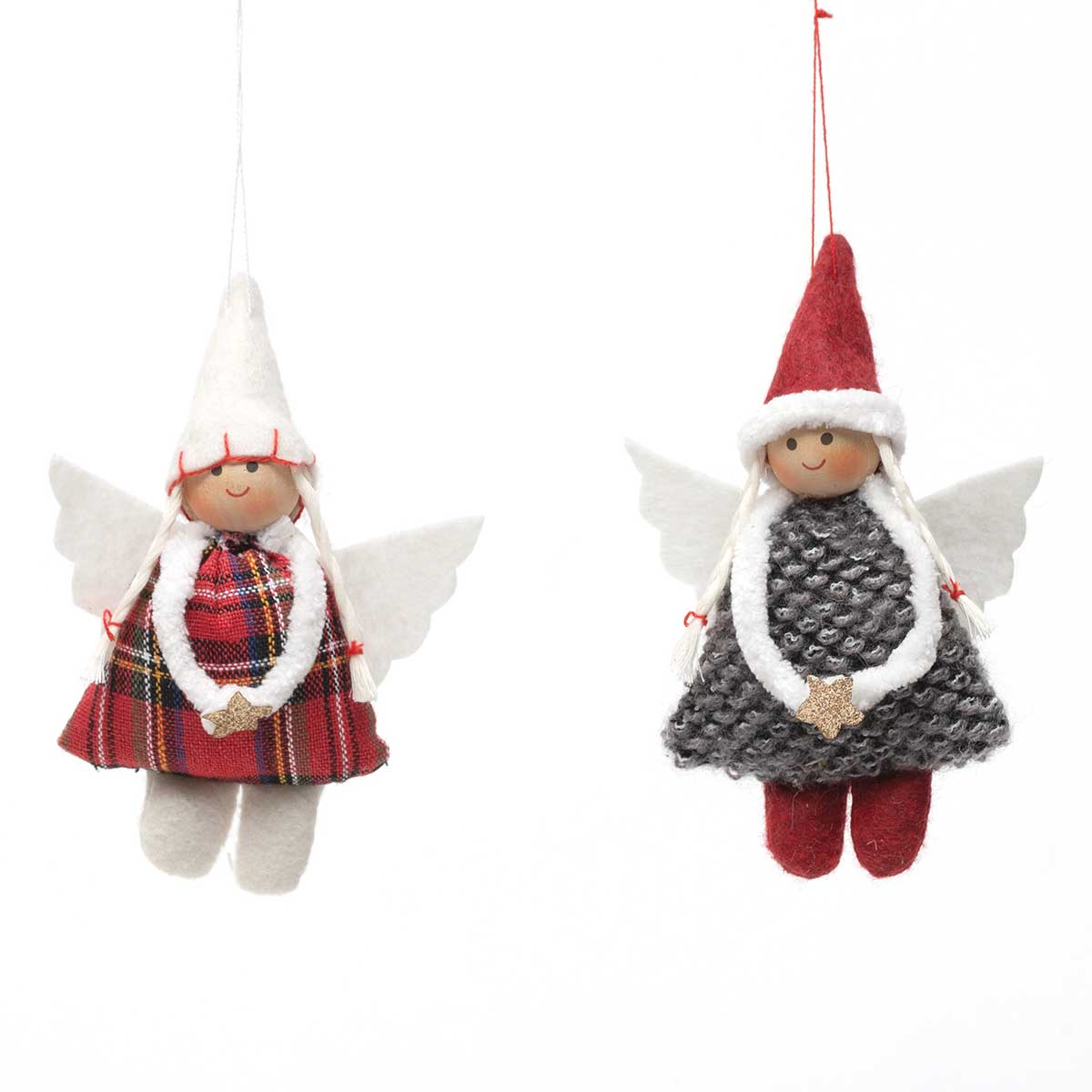 RED/GREY ANGEL GIRL ORNAMENT WITH STAR