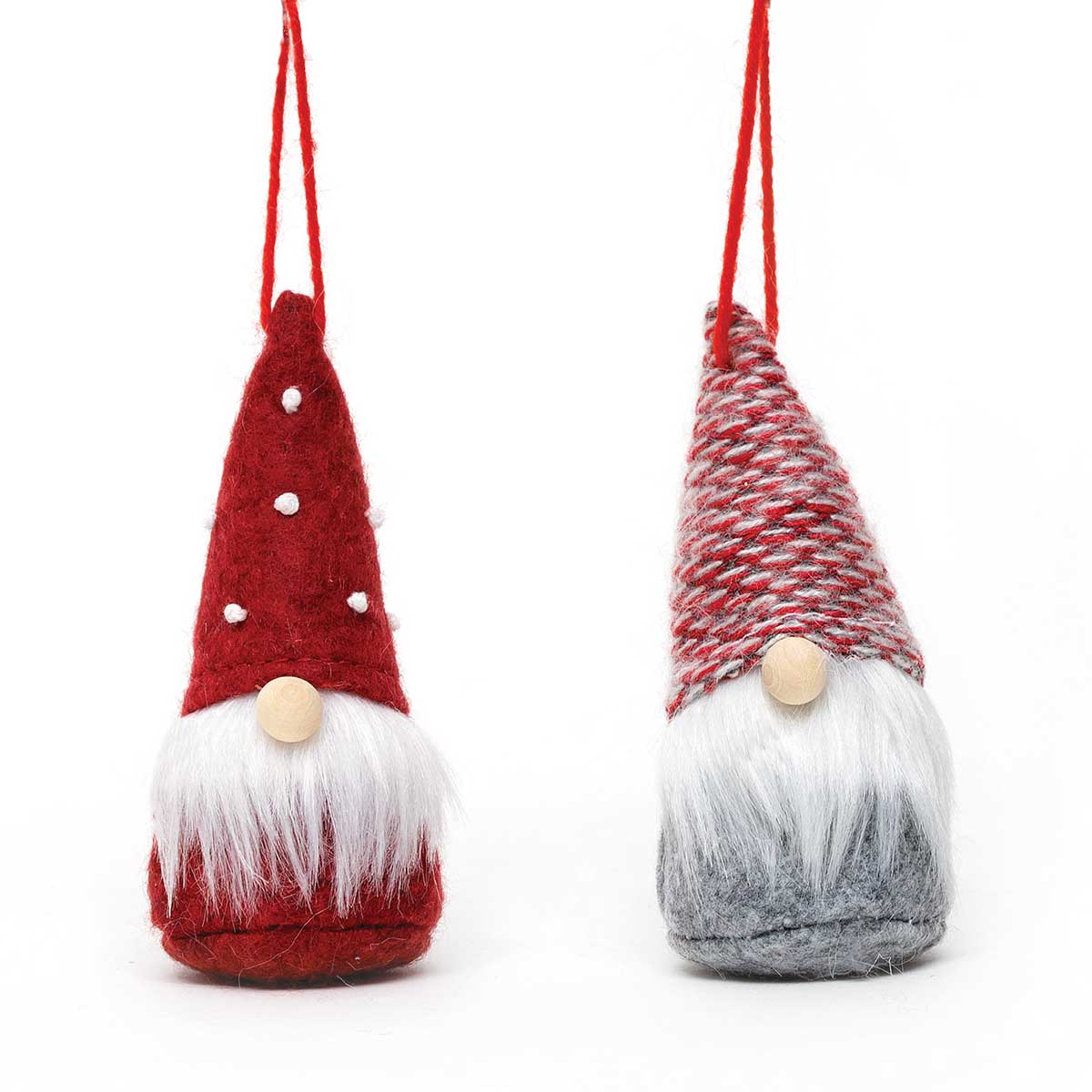 RED GNOME ORNAMENT WITH WOOD NOSE &