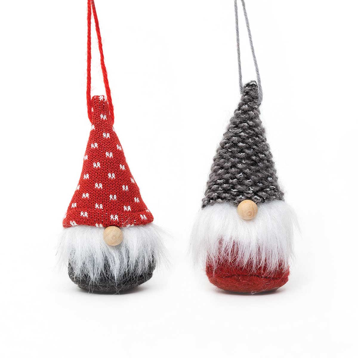 GREY/RED GNOME ORNAMENT WITH WOOD NOSE