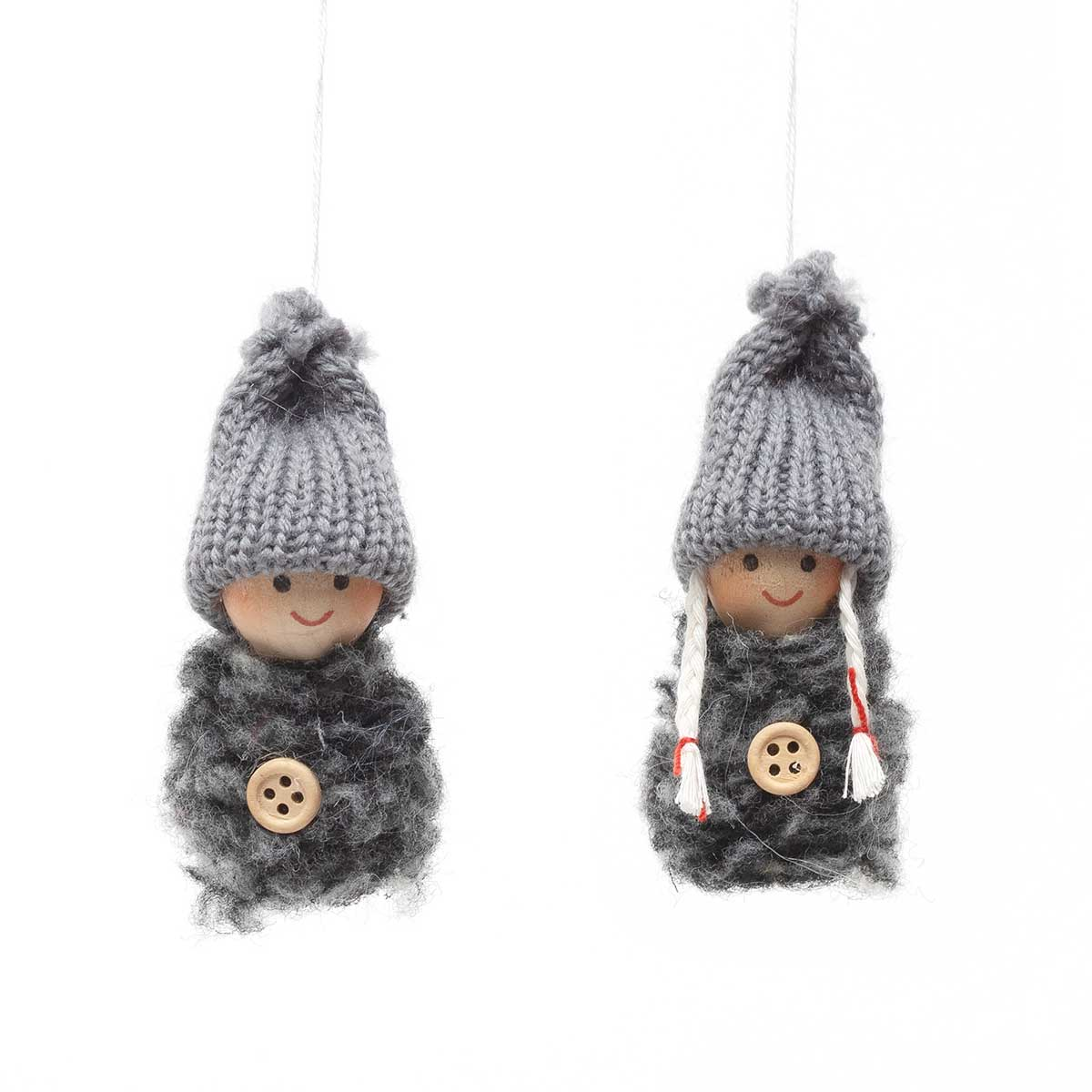 GREY BLUSHING BOY & GIRL ORNAMENT