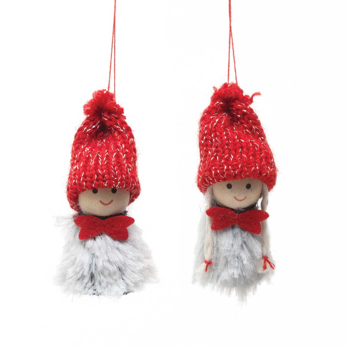 BOY & GIRL ORNAMENT WITH RED & SILVER SWEATER HAT, BOW