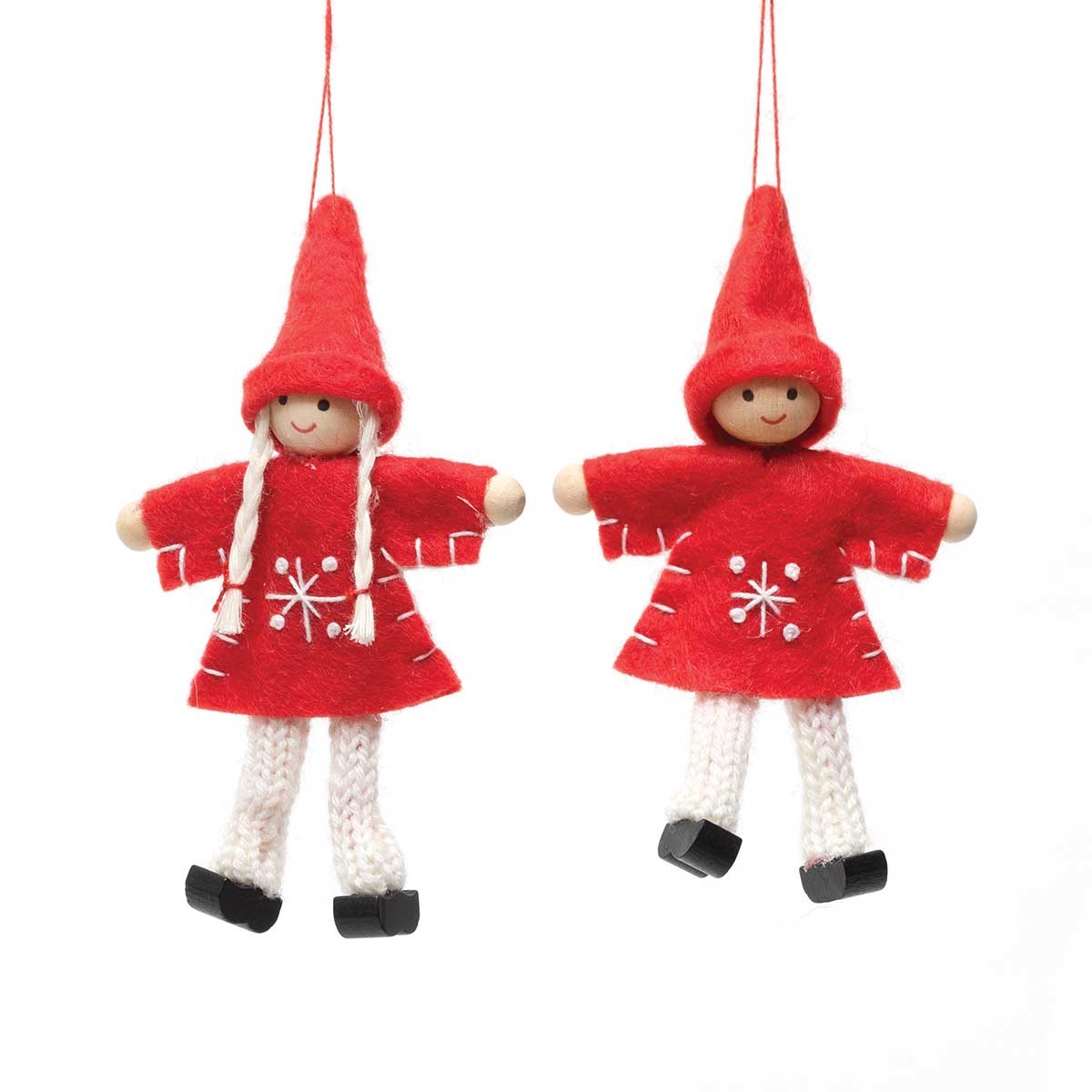RED/GREY BOY & GIRL ORNAMENT