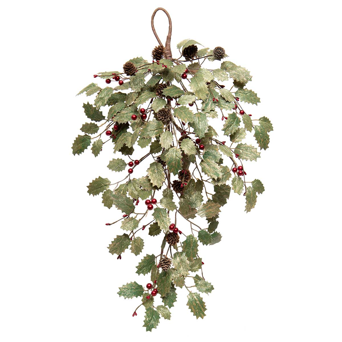METALLIC HOLLY BOUGH WITH RED