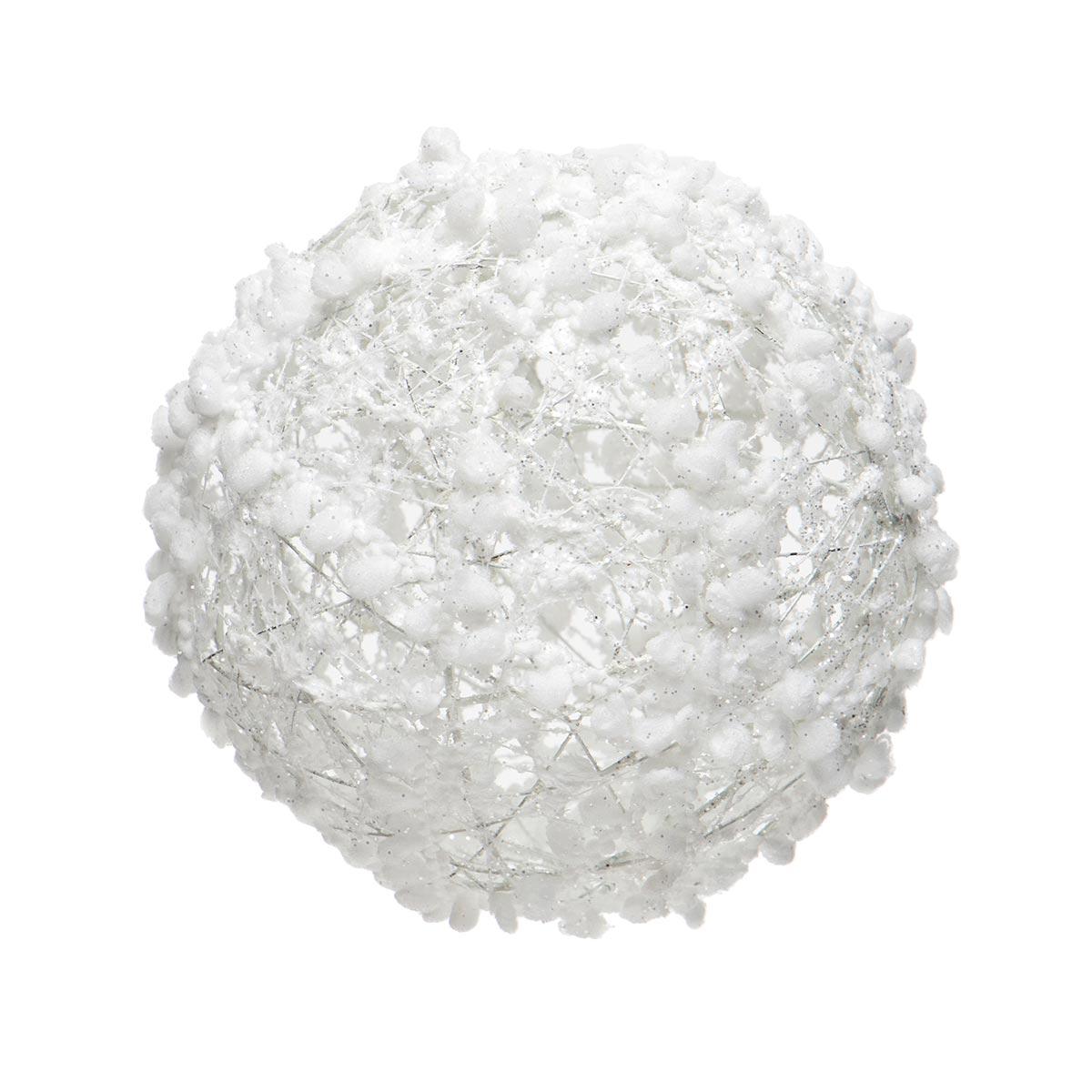 WHITE PUFF BALL ORNAMENT WITH GLITTER