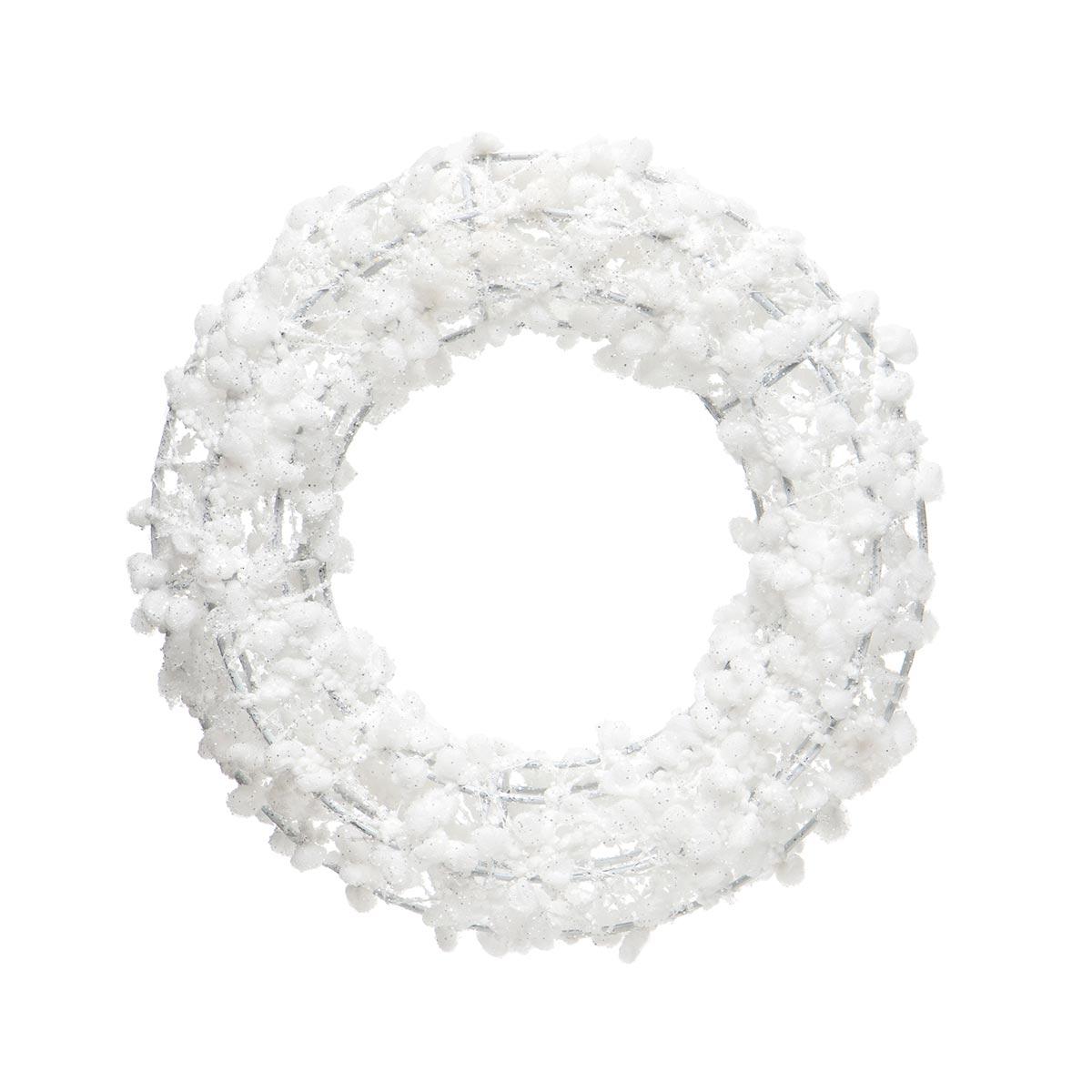 WHITE PUFF BALL WREATH ORNAMENT