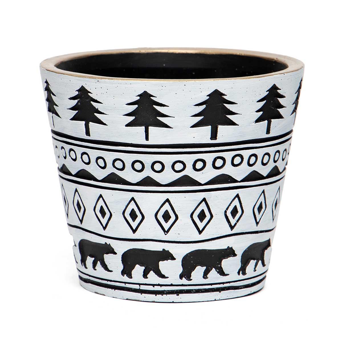 CREAM/BLACK CONCRETE BEAR & TREE