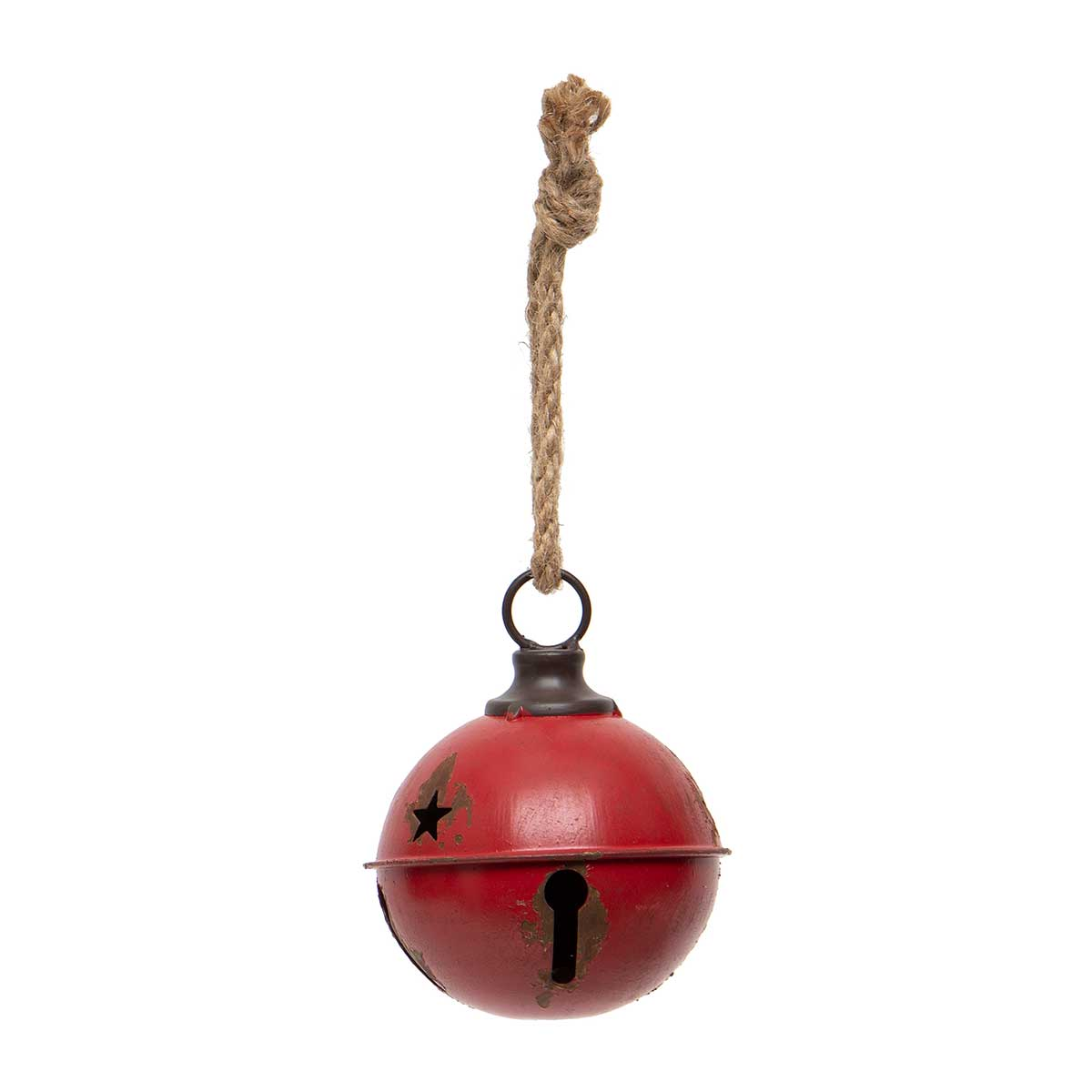 ANTIQUE RED METAL JINGLE BELL WITH STAR