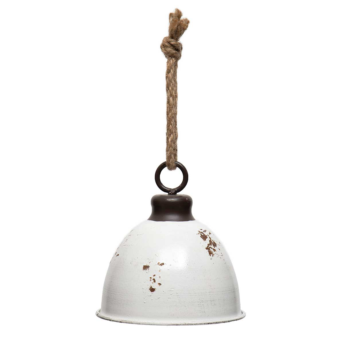 ANTIQUE WHITE METAL BELL WITH JINGLE BELL